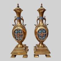 Very Fine Pair of Alphonse GIROUX Gilt Bronze, Silver and Enamel Cassolettes