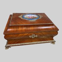 Museum Quality Large French TAHAN Casket with Bronze Detail and Sevres Porcelain Panel