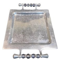 Vintage Aluminum Serving Tray with Glass Bead Handles
