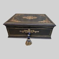 Large Antique French VERVELLE Inlaid Ebonized Desk Box c1850