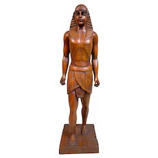Large Antique French Hand Carved Egyptian Male Sculpture