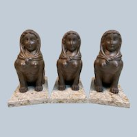 Set of Three Antique European Hand Carved Wood Sphinx on Granite Plinths