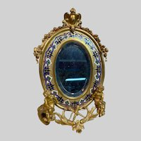 Antique French Alphonse GIROUX Gilt Bronze and Enamel Table Mirror c1860