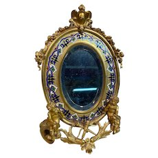 Antique French Alphonse GIROUX Gilt Bronze and Enamel Table Mirror c1860