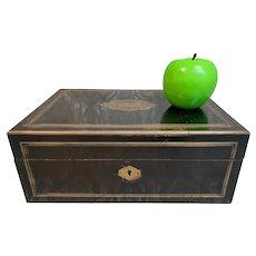 Large Antique Napoleon III  VERVELLE Ebonized Box with Inlaid Bronze