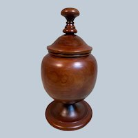 Charming Large Turned Wood Lidded Apothecary Urn or Jar