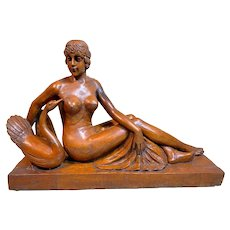 Magnificent Large Antique French Carving of a Reclining Woman
