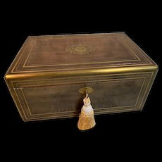 Outstanding Extra Large Antique TAHAN Table Casket with Inlaid Bronze c1840