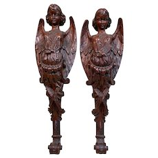 HOLD!  Antique European Pair of Carved Oak Angels