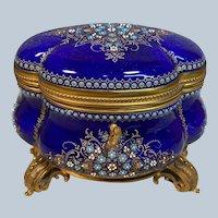 Near Mint Antique French TAHAN Blue Sevres Enamel & Bronze Box