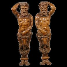 Large Antique Pair of Finely Carved Wood Male Figures c1850