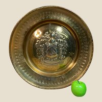 Rare Very Large English Armorial Alms Dish in Brass c1830
