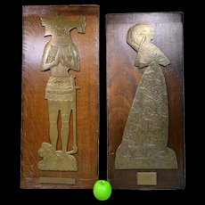 Large Pair of Antique Brass Effigies of a Lady & Knight