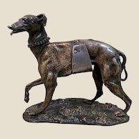 Rare c1870 French Alphonse GIROUX Silvered Bronze Dog Sculpture