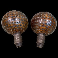 Unusual Large Pair of Antique Wood Ball Finials with Screws