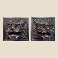 Very Rare Pair of 18th Century European Carved Wooden Lion heads