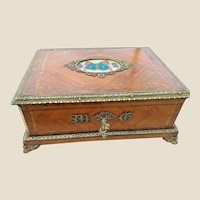 Rare Large Antique TAHAN Marquetry Casket with Custom Hand painted Butterfly