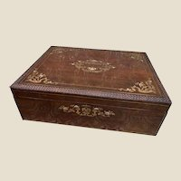Very RARE Monumental Antique Alphonse GIROUX Inlaid Casket with Secret Drawer