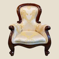 Gorgeous Antique Silk Upholstered Doll or Childs Chair