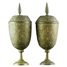 Fine Pair of Antique Persian - Middle Eastern Hand Chased Brass Lidded Urns