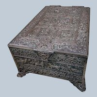 Very Rare Antique GIROUX Silvered Bronze Large Table Box