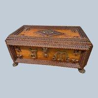 European Large Tramp Art Box Jewelry Paw Feet dated 1895