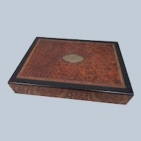 Large Antique c1875 Alphonse GIROUX Inlaid Burl Desk Box