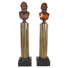 Very Rare Pair of PAFA Deaccessioned Antique Walnut Busts by Edward Augustus Brackett (American 1818-1908) with Plinths
