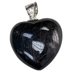 Big Labradorite Puffy Heart Charm / Pendant Sterling Silver