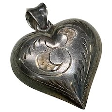 Vintage Puffy Heart Charm/Pendant Sterling Silver Hand Engraved