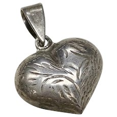 Puffy Heart Vintage Charm Sterling Silver Hand Engraved