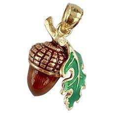 Acorn & Oak Leaf Charm 14k Gold Colorful Enamel Three-Dimensional