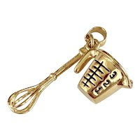 Measuring Cup & Whisk Charms 14K Gold Three-Dimensional