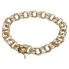 Double Link Vintage Bracelet 14K Gold, 19.6 Grams, Charm Bracelet
