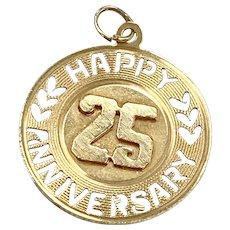 Big Vintage 25th Anniversary Charm 14K Gold, 1966