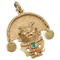 Columbian Emerald Inca Vintage Charm / Pendant 18K Gold
