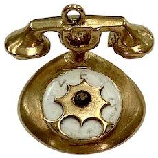 Telephone Vintage Charm 9K English Gold Three-Dimensional