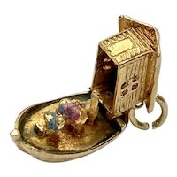 Noah's Ark Moving Vintage Charm 9K English Gold Three-Dimensional
