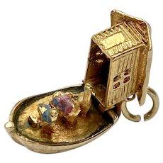 Noah's Ark Moving Vintage Charm 9K English Gold Three-Dimensional