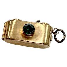 Jeweled Camera Vintage Charm Opens Photo's Inside 9K English Gold