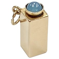 Jeweled Container Vintage Charm 14K Gold & Blue Star Sapphire
