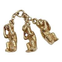 Three Wise Monkeys / No Evil Vintage Charms 14K Gold Three-Dimensional