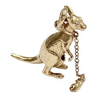 Kangaroo & Joey Vintage Moving Charm 14K Gold Three-Dimensional