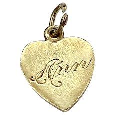 Small Flat Heart Vintage Charm 14K Gold, Engraved Ann