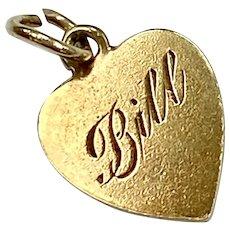 Small Flat Heart Vintage Charm 14K Gold, Engraved Bill