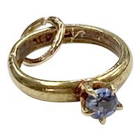 Sapphire September Birthstone Vintage Charm 14K Gold Three-Dimensional