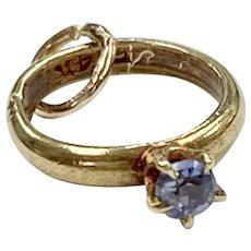 Sapphire September Birthstone Vintage Charm 14K Gold Three-Dimensional