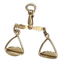 Moving Scales Vintage Charm, Astrology Libra or Justice 10K Gold Three-Dimensional