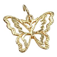 Butterfly Vintage Charm 14K Gold Three-Dimensional