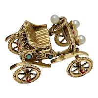 Big Jeweled Moving Horseless Carriage Charm 14K Gold